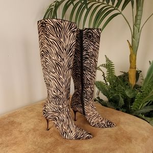 Cole Haan Micro Print Pointed Toe Knee High Boots